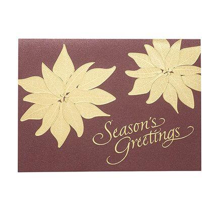 Gold Poinsettia Christmas Card Set of 18-366419
