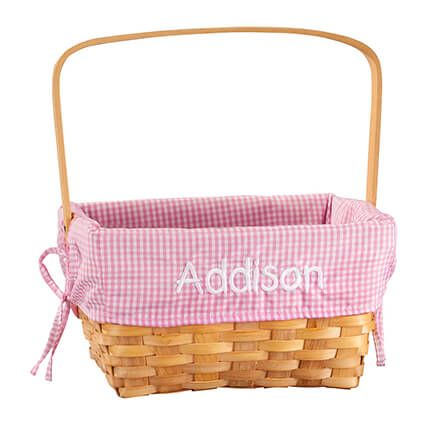 Personalized Pink Gingham Wicker Easter Basket-366643