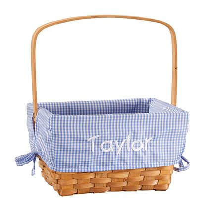 Personalized Blue Gingham Wicker Easter Basket-366644