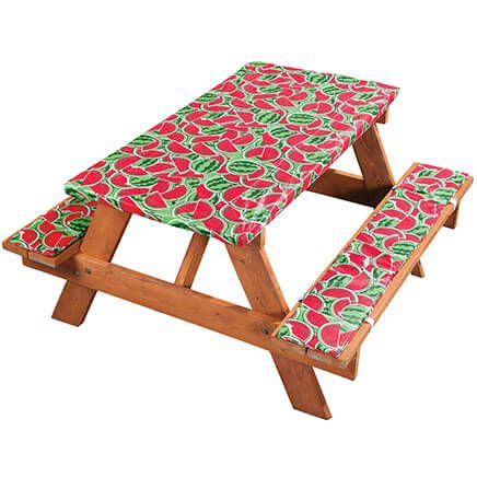 Deluxe Picnic Tablecover with Cushions by Homestyle Kitchen, Watermelon-366977