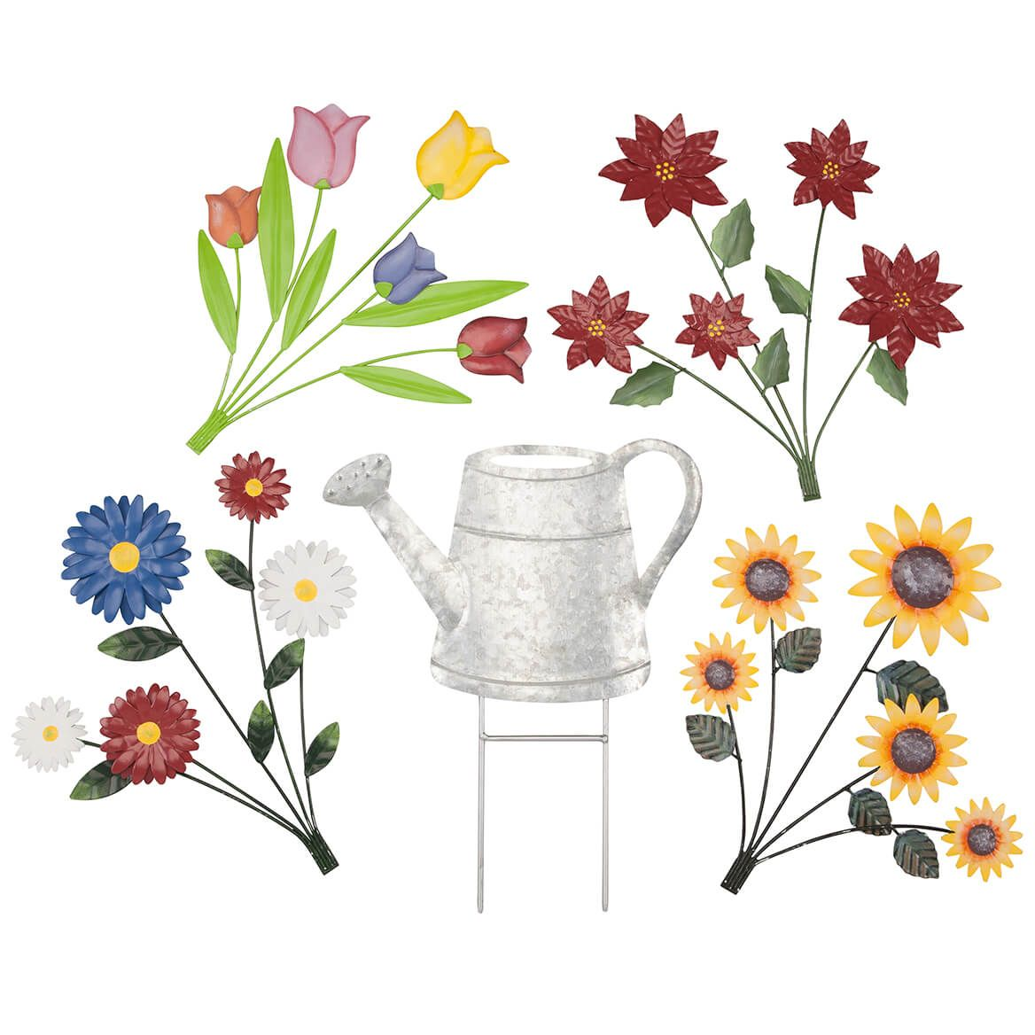 Watering Can Stake with 4 Bouquets by Fox River Creations™-367006