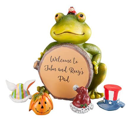 Personalized Frog with Seasonal Hats-367007