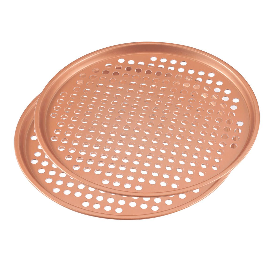 "12.5"" Ceramic Copper Pizza Pans, Set of 2-367112"