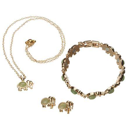 Good Luck Elephant Necklace, Earrings and Bracelet Set-367329