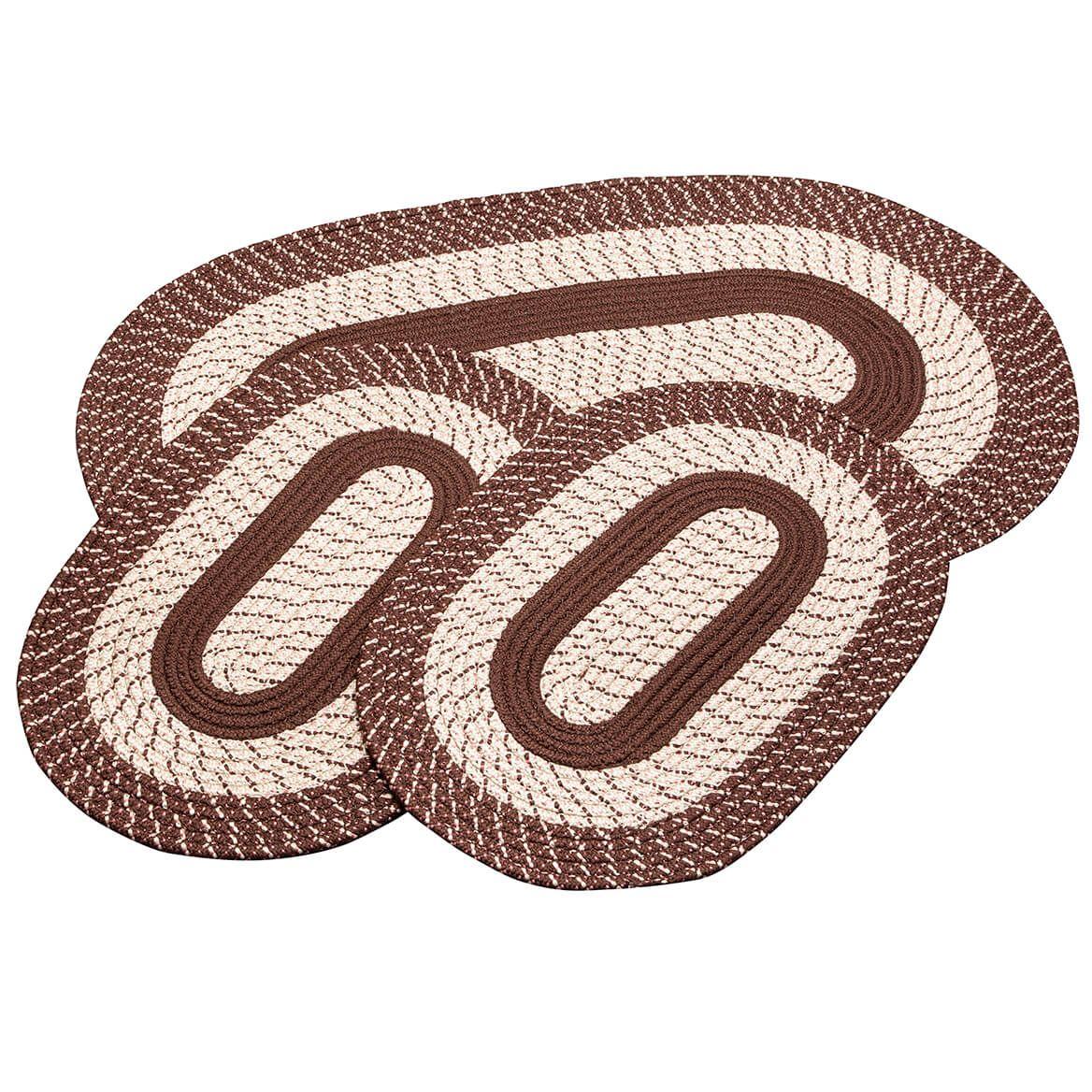 Chocolate 3-Piece Two-Tone Braided Rug Set by OakRidge™-367534