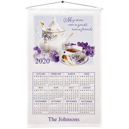 Personalized Teapot and Violets Calendar Towel-367670
