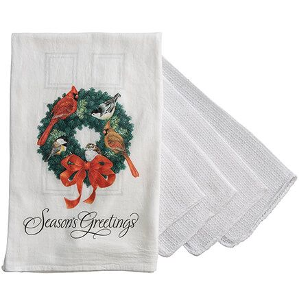 Holiday Wreath Flour Sack Towel with Bonus 4-Pc. Utility Cloths-368065