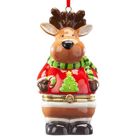 Reindeer in Sweater Ornament Trinket Box-368108