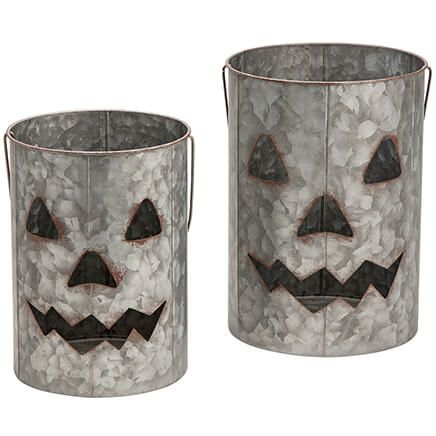 Galvanized Metal Jack-O-Lanterns, Set of 2-368112