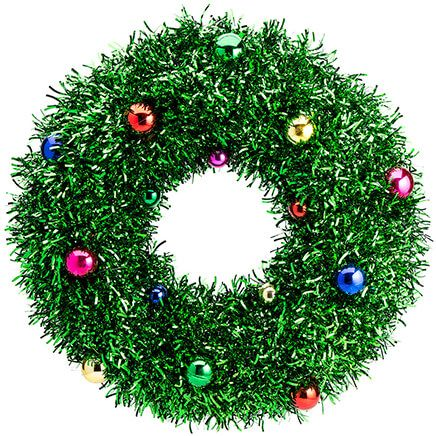 "17.5"" Green Tinsel Wreath with Ornaments by Oakridge™-368200"