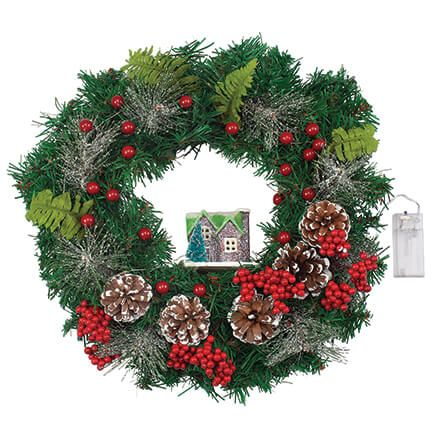 Lighted Holiday Wreath with House-368201