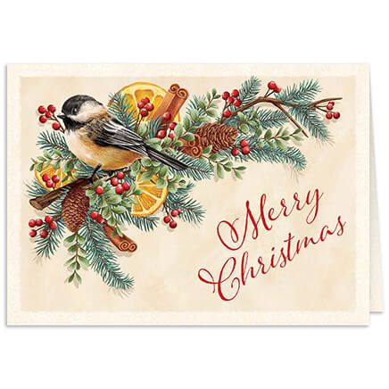 Personalized Chickadee Potpourri Christmas Card Set of 20-368215