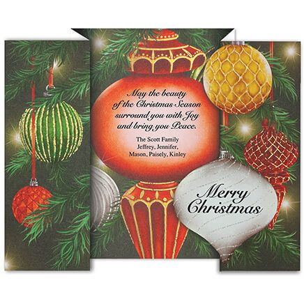 Personalized Twinkling Ornaments Christmas Card Set of 20-368224