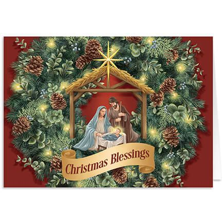 Personalized Nativity Wreath Christmas Card Set of 20-368235