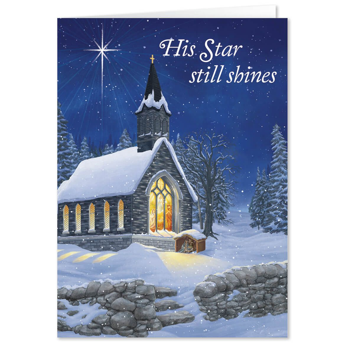 Personalized Midnight Chapel Christmas Card Set of 20-368239