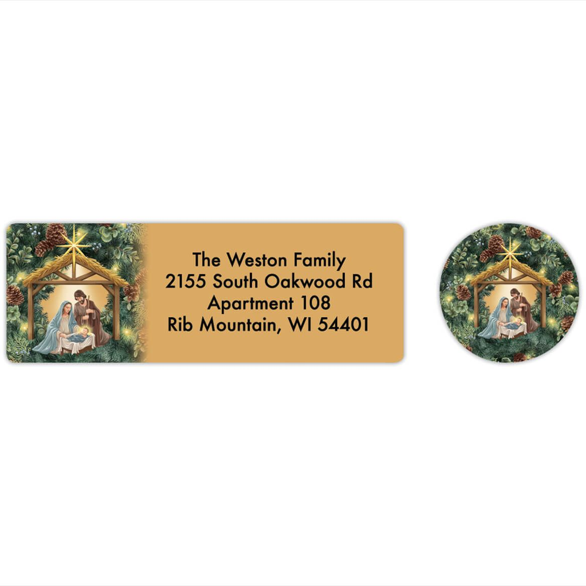 Personalized Nativity Wreath Labels & Envelope Seals 20-368274
