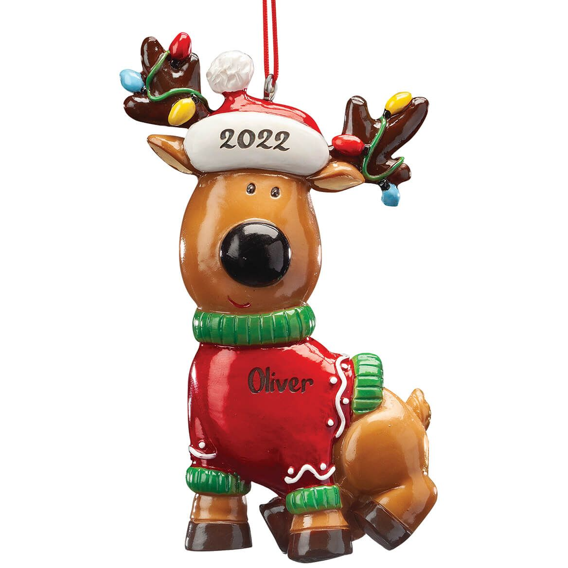 Personalized Reindeer in Sweater Ornament-368286