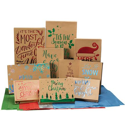 Kraft Boxes with Foil 10 Boxes & 20 Sheets of Tissue-368346