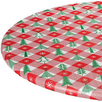 Vintage Holiday Tree Elasticized Vinyl Tablecover-368354
