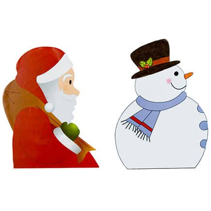 Backseat Santa & Snowman Car Window Stickers-368358