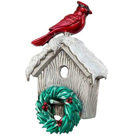 Cardinal on Birdhouse Pewter Pin-368475