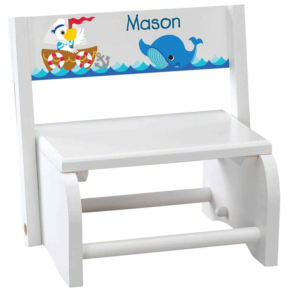 Personalized Children's White Ocean Friends Step Stool-368492