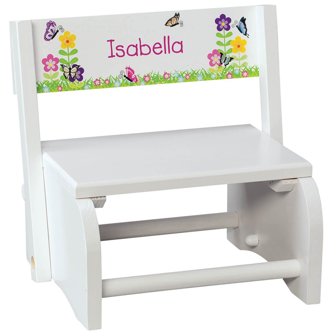 Personalized Children's White Butterfly & Flower Step Stool-368493
