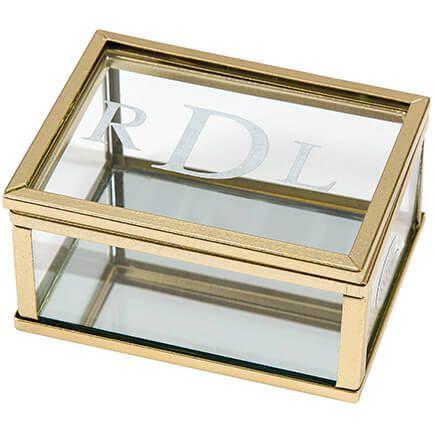 Personalized Gold Trim Glass Keepsake Box with Mirrored Bottom-368578