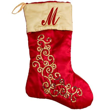 Personalized Red and Gold Glittered Stocking by Holiday Peak-368677