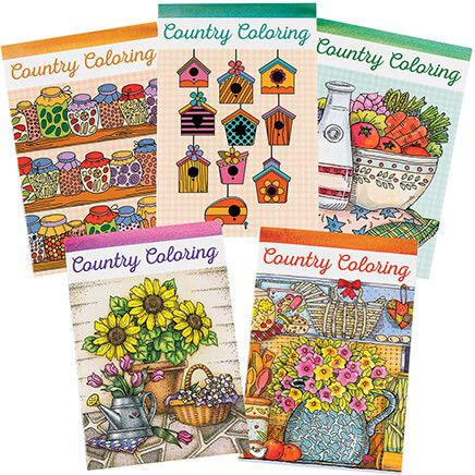 Country Charm Coloring Books Set of 5-368756