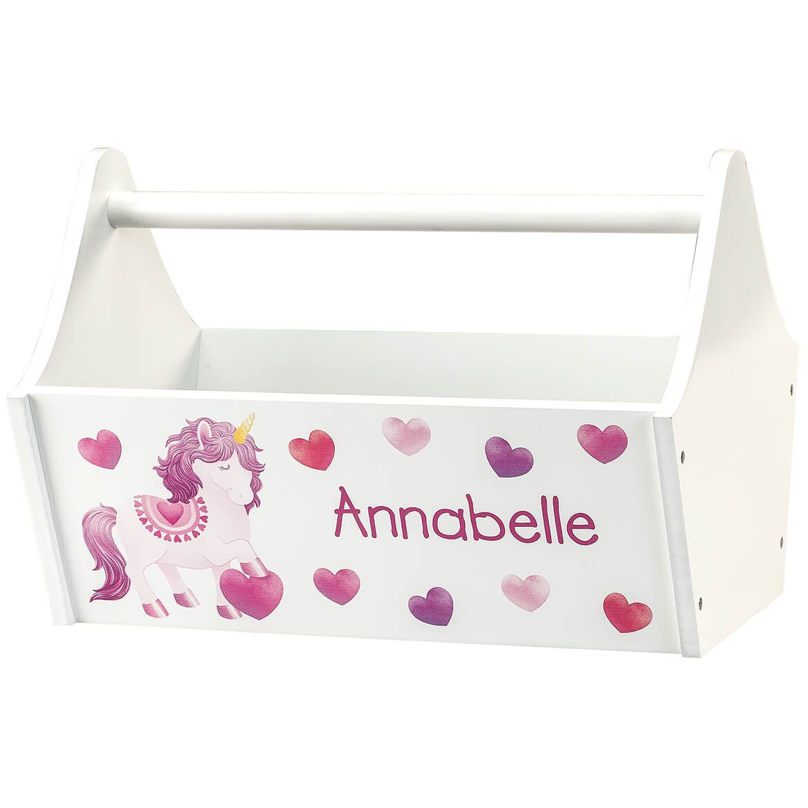 Personalized Unicorn Hearts Toy Caddy-368828