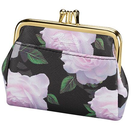 Buxton® RFID Black & Pink Rose Triple Frame Coin Purse-368889