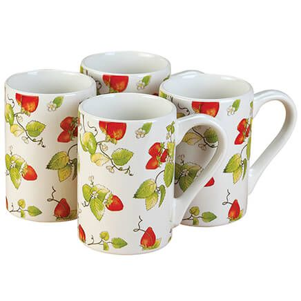 Strawberry Chintz Mugs, Set of 4 by William Roberts-369000