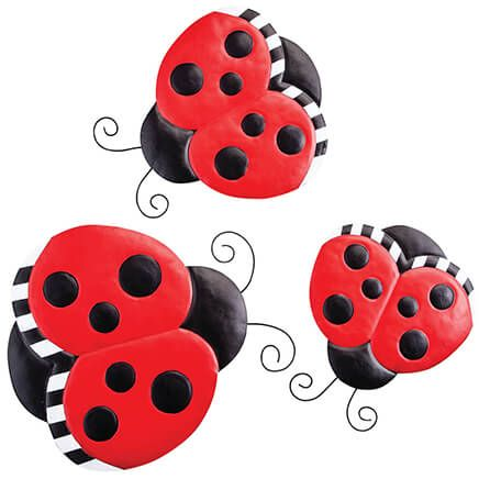 Metal Ladybug Hangers, Set of 3-369031