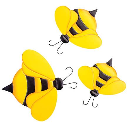 Metal Bumblebee Hangers, Set of 3-369032