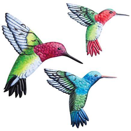 Metal Hummingbird Hangers, Set of 3-369033