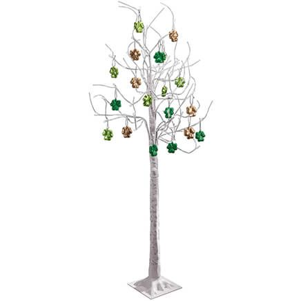 6' Birch Tree with 18 Shamrock Ornaments-369048