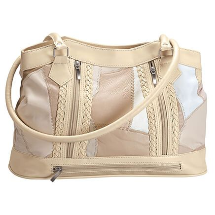 5-Pocket Cream Patch Leather Shoulder Bag-369224