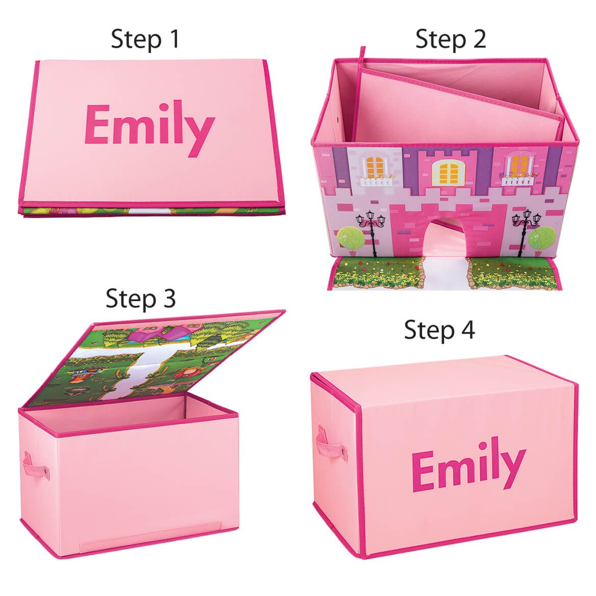 Personalized Foldover Toy Box with Play Mat, Pink Castle-369230