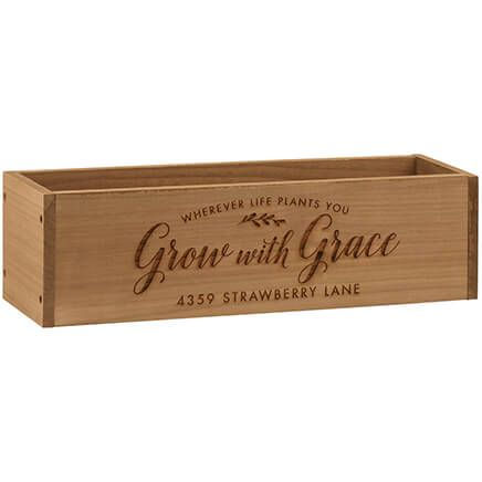 Personalized Wooden Planter Box, Grow with Grace-369253