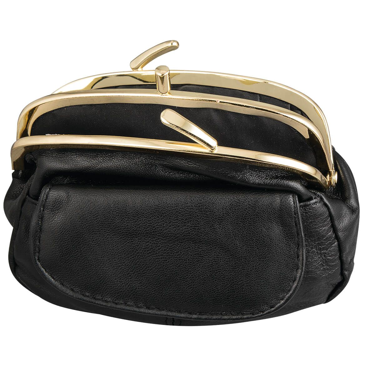Dual Clasp Leather Coin Purse-369306