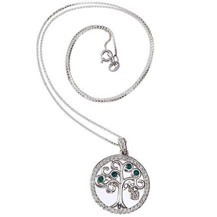 Personalized SS Family Tree Necklace with Green Crystals-369356