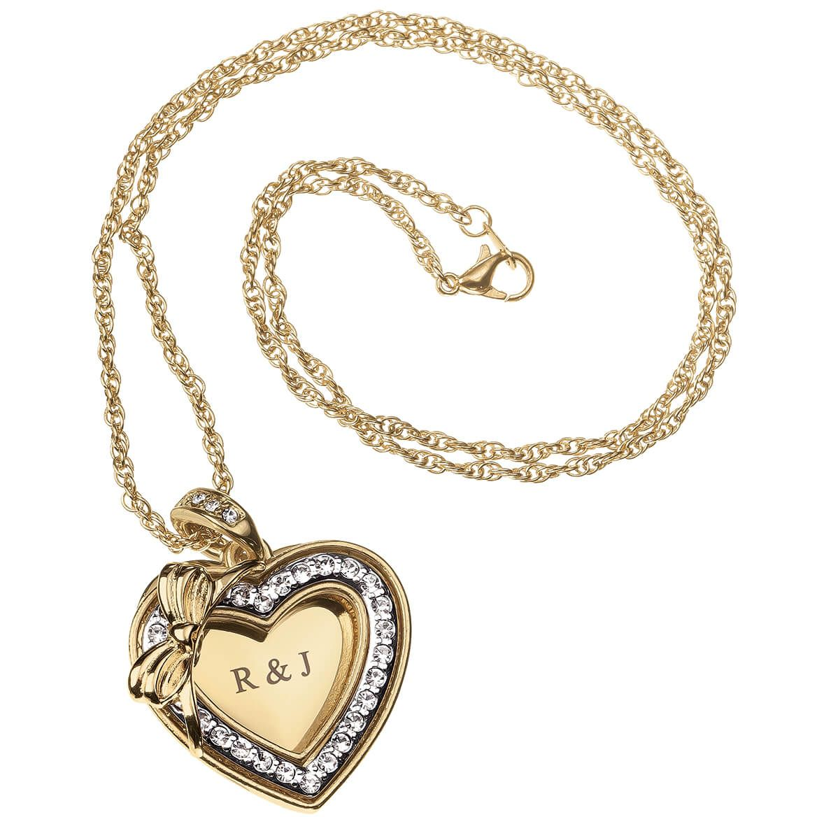 Personalized Open Crystal Heart and Bow Pendant-369362