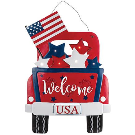 Patriotic Truck Lighted Welcome Sign by Fox River Creations™-369399
