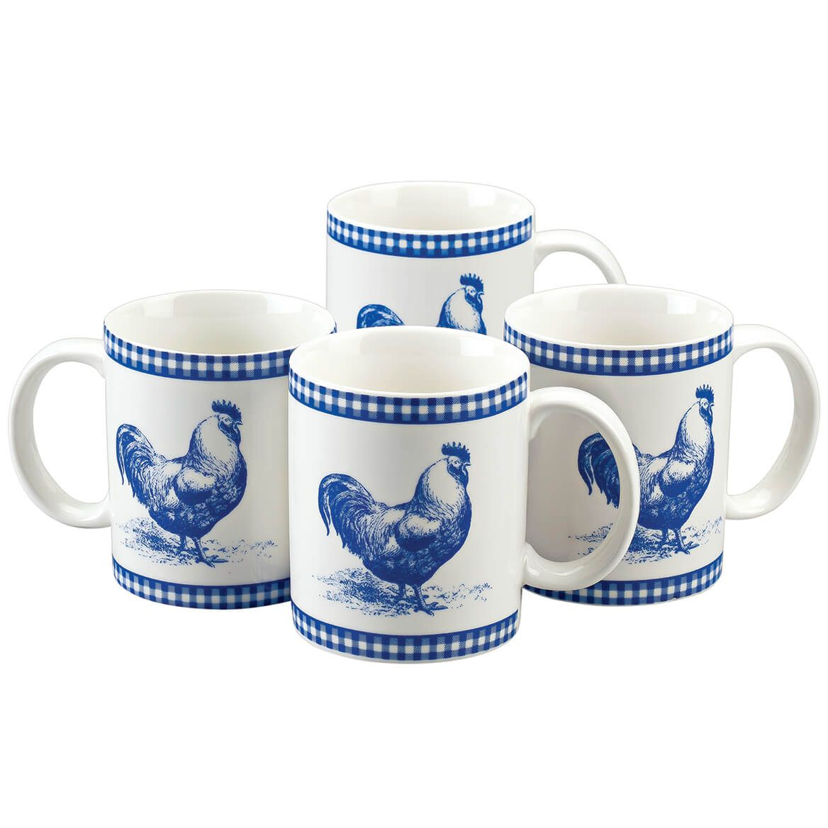 Blue Rooster Mugs, Set of 4 by William Roberts-369665