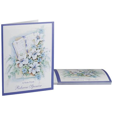 Personalized Bible and Flowers Note Card, Set of 20-369750