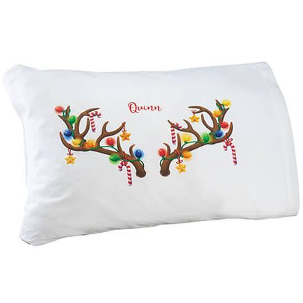 Personalized Antler 'Selfie' Pillow Case-370354
