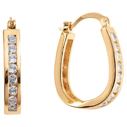Simulated Diamond Oval Hoop Earrings-370357