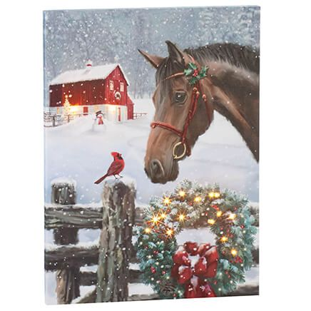 Christmas Horse Lighted Canvas by Holiday Peak™-370418