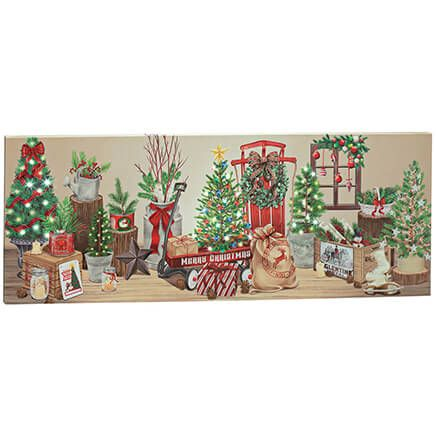 Vintage Christmas Décor Lighted Canvas by Holiday Peak™-370535